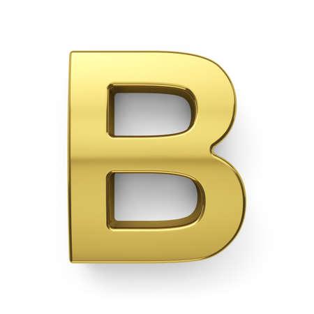 3d render of golden alphabet letter simbol - B. Isolated on white background