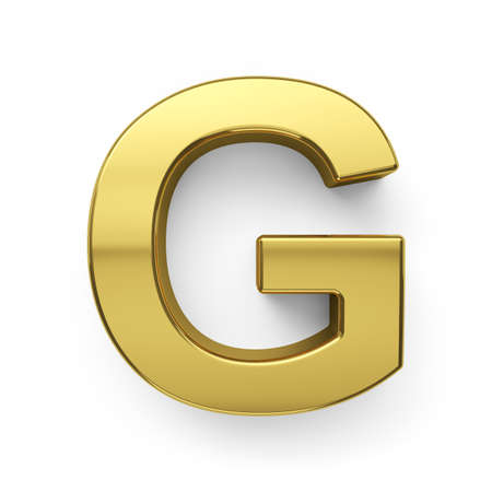 3d render of golden alphabet letter simbol - G. Isolated on white background