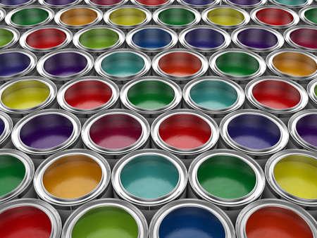 3d illustration of colorful paint cans set
