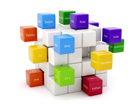 Photo pour Programming concept. Different machine code languages colorful boxes isolated on white background - image libre de droit