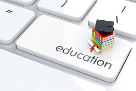 Foto de 3d render of graduation cap with books icon on the keyboard. Education concept - Imagen libre de derechos