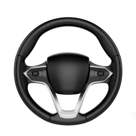 Photo pour 3d render of steering wheel isolated on white background - image libre de droit