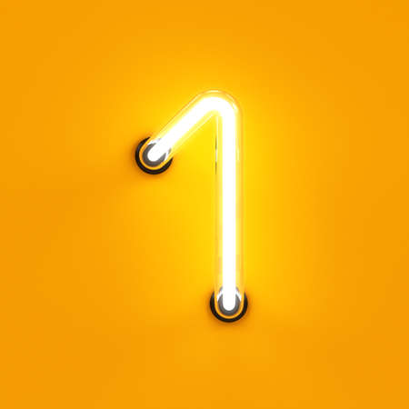 Foto de Neon light digit alphabet character 1 one font. Neon tube letter glow effect on orange background. 3d rendering - Imagen libre de derechos