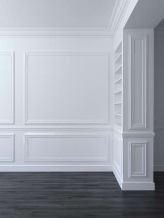 Photo for White classic empty space interior with panels on wall. 3d render illustration - Royalty Free Image