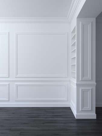 Foto de White classic empty space interior with panels on wall. 3d render illustration - Imagen libre de derechos
