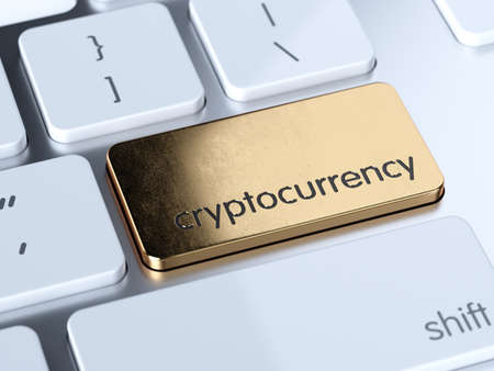 Photo pour Golden cryptocurrency service sign button on white computer keyboard. 3d rendering concept - image libre de droit