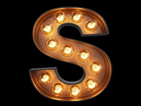 Photo pour Light bulb glowing letter alphabet character S font. Front view illuminated capital symbol on black background. 3d rendering illustration - image libre de droit