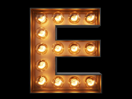 Photo pour Light bulb glowing letter alphabet character E font. Front view illuminated capital symbol on black background. 3d rendering illustration - image libre de droit