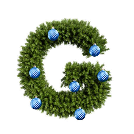 Foto de Christmas alphabet ABC character letter G font with Christmas ball. Christmas tree branches capital letters decoration type with Christmas sphere. Highly realistic 3d rendering illustration. Text font isolated on white background - Imagen libre de derechos