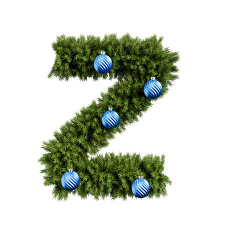 Foto de Christmas alphabet ABC character letter Z font with Christmas ball. Christmas tree branches capital letters decoration type with Christmas sphere. Highly realistic 3d rendering illustration. Text font isolated on white background - Imagen libre de derechos
