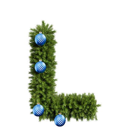 Foto de Christmas alphabet ABC character letter L font with Christmas ball. Christmas tree branches capital letters decoration type with Christmas sphere. Highly realistic 3d rendering illustration. Text font isolated on white background - Imagen libre de derechos