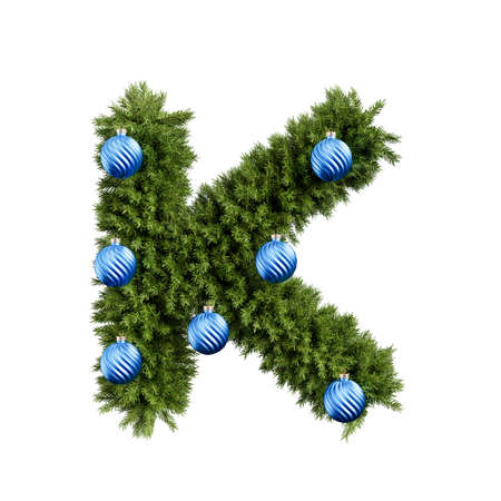 Foto de Christmas alphabet ABC character letter K font with Christmas ball. Christmas tree branches capital letters decoration type with Christmas sphere. Highly realistic 3d rendering illustration. Text font isolated on white background - Imagen libre de derechos