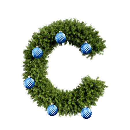Foto de Christmas alphabet ABC character letter C font with Christmas ball. Christmas tree branches capital letters decoration type with Christmas sphere. Highly realistic 3d rendering illustration. Text font isolated on white background - Imagen libre de derechos