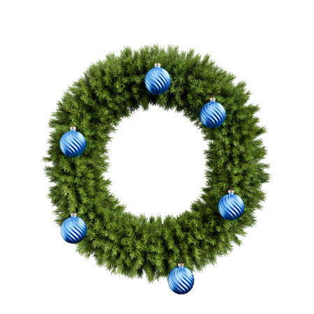 Foto de Christmas alphabet ABC character letter O font with Christmas ball. Christmas tree branches capital letters decoration type with Christmas sphere. Highly realistic 3d rendering illustration. Text font isolated on white background - Imagen libre de derechos