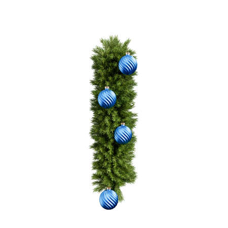 Foto de Christmas alphabet ABC character letter I font with Christmas ball. Christmas tree branches capital letters decoration type with Christmas sphere. Highly realistic 3d rendering illustration. Text font isolated on white background - Imagen libre de derechos