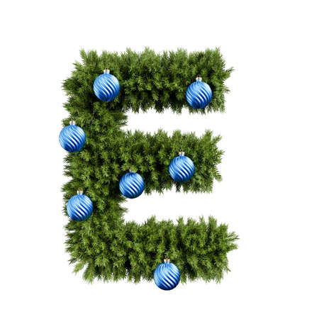 Foto de Christmas alphabet ABC character letter E font with Christmas ball. Christmas tree branches capital letters decoration type with Christmas sphere. Highly realistic 3d rendering illustration. Text font isolated on white background - Imagen libre de derechos