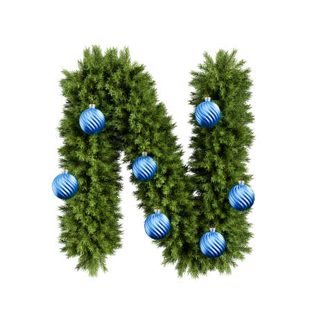 Foto de Christmas alphabet ABC character letter N font with Christmas ball. Christmas tree branches capital letters decoration type with Christmas sphere. Highly realistic 3d rendering illustration. Text font isolated on white background - Imagen libre de derechos