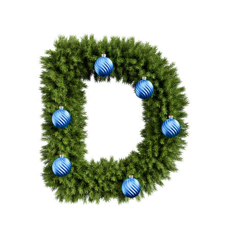 Foto de Christmas alphabet ABC character letter D font with Christmas ball. Christmas tree branches capital letters decoration type with Christmas sphere. Highly realistic 3d rendering illustration. Text font isolated on white background - Imagen libre de derechos
