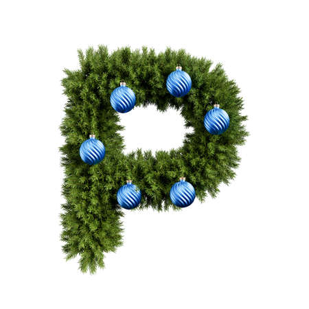 Foto de Christmas alphabet ABC character letter P font with Christmas ball. Christmas tree branches capital letters decoration type with Christmas sphere. Highly realistic 3d rendering illustration. Text font isolated on white background - Imagen libre de derechos
