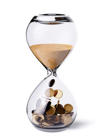 Foto de Time is money financial concept. Hourglass clock with sand and gold coins. 3d rendering illustration. Isolated on white background  - Imagen libre de derechos
