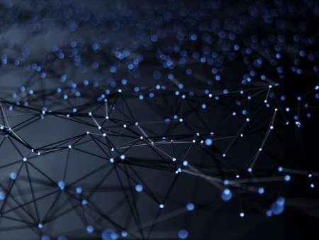Photo pour Abstract mesh line and point light block chain digital link network technology illuminated shape. Big data node base concept glow effect on black background. 3d rendering illustration - image libre de droit