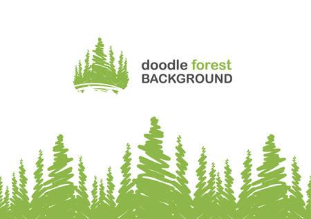 Illustration pour Vector illustration: Seamless background with doodle of pine forest. - image libre de droit