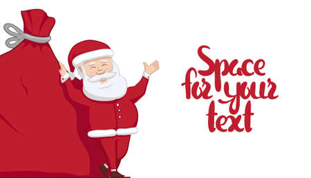 Illustration pour Vector illustration: Santa Claus is leaning on big sack with gifts and shows blank space. Winter Merry Christmas scene - image libre de droit