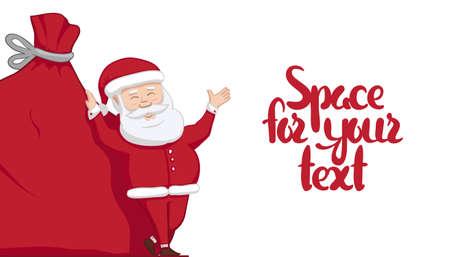 Ilustración de Vector illustration: Santa Claus is leaning on big sack with gifts and shows blank space. Winter Merry Christmas scene - Imagen libre de derechos