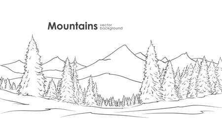 Illustration pour Hand drawn Mountains sketch - image libre de droit