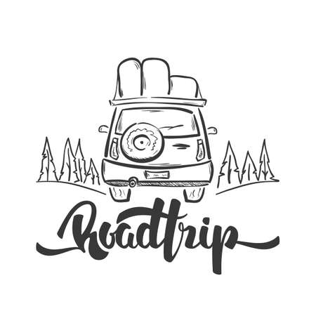 Illustration for Hand drawn travel car and handwritten lettering of Road Trip. Sketch line design - Royalty Free Image