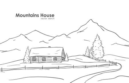 Ilustración de Hand drawn sketch of landscape with mountains house - Imagen libre de derechos