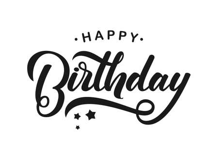 Illustration for Handwritten modern brush lettering of Happy Birthday on white background. - Royalty Free Image