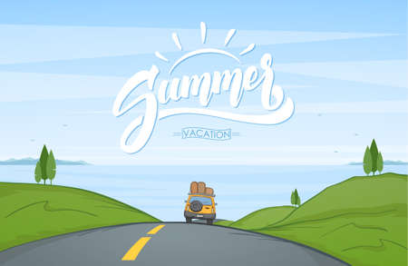 Ilustración de Vector illustration: Cartoon landscape with travel car rides on the road and handwritten lettering of Summer. - Imagen libre de derechos