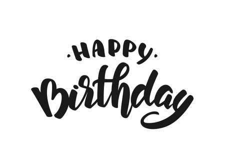 Illustration pour Vector illustration: Hand drawn doodle brush lettering of Happy Birthday. - image libre de droit