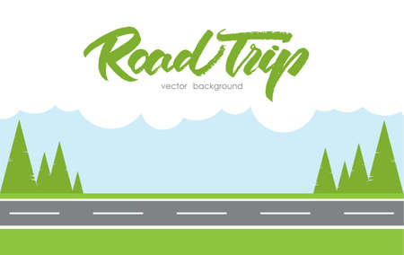 Ilustración de Vector illustration: Road Trip background - Imagen libre de derechos