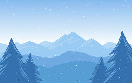 Illustration pour Vector illustration: Winter Hand Drawn Mountains snowy landscape - image libre de droit