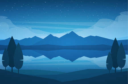 Illustration pour Vector illustration: Night Mountains Lake landscape with stars, reflection and trees on foreground. - image libre de droit