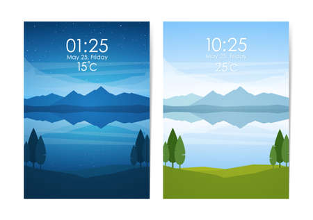 Vector illustration: Day and Night flat mountains lake landscape. Weather Application User Interface.