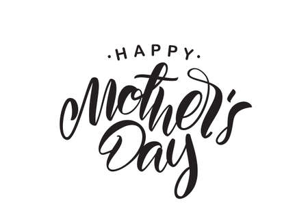Illustration pour Vector illustration: Handwritten type lettering of Happy Mother's Day isolated on white background. - image libre de droit