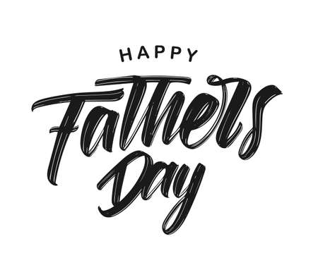 Illustration pour Vector illustration: Hand drawn type lettering composition of Happy Fathers Day on white background - image libre de droit