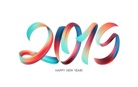 Illustration pour Vector illustration: Colorful Brushstroke paint lettering calligraphy of 2019 Happy New Year on white background. - image libre de droit