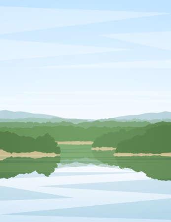 Illustration pour Vector illustration: Vertical summer river landscape with reflection. - image libre de droit