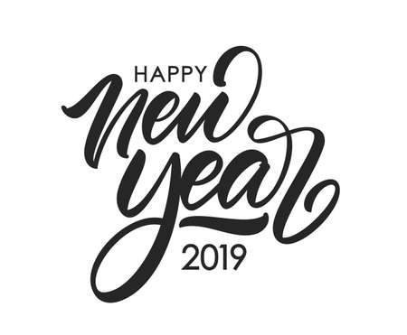 Ilustración de Vector illustration. Handwritten calligraphic brush lettering composition of Happy New Year 2019 on white background. - Imagen libre de derechos