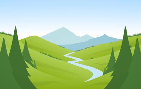 Illustration pour Cartoon flat summer mountains landscape with green hills, pine forest and river - image libre de droit