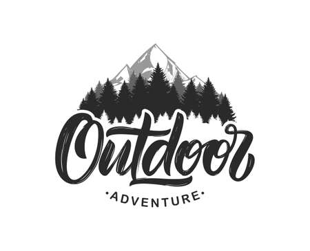 Illustration pour Vector illustration: Handwritten Modern brush lettering composition of Outdoor adventure with silhouette of pine forest and mountains. - image libre de droit