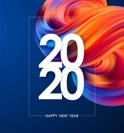 Foto de Happy New Year 2020. Greeting poster with colorful abstract fluid shape. Trendy design - Imagen libre de derechos