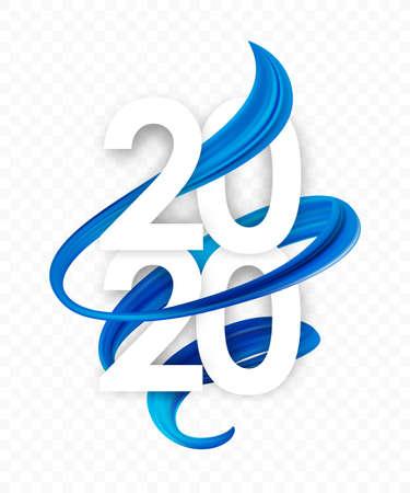 Ilustración de Vector illustration: Happy New Year. Number of 2020 with blue abstract twisted paint stroke shape. Trendy design - Imagen libre de derechos