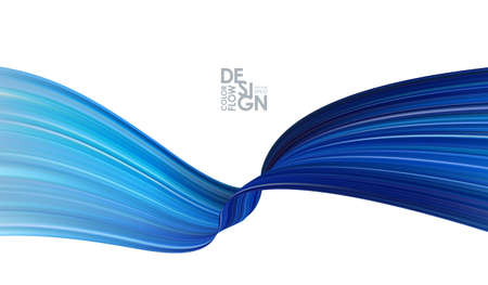 Illustration for Vector illustration: Modern abstract banner background with 3d twisted blue flow liquid shape. - Royalty Free Image
