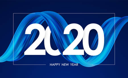 Illustration pour Vector illustration: Happy New Year 2020. Greeting card with blue abstract twisted acrylic paint stroke shape. Trendy design - image libre de droit