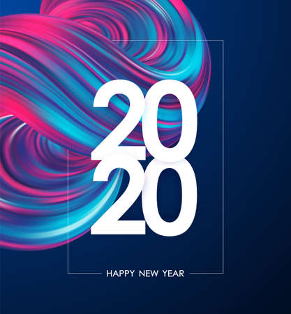 Illustration pour Happy New Year 2020. Greeting poster with neon colored abstract fluid shape. Trendy design - image libre de droit